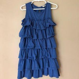 Mini Boden tiered ruffle blue dress